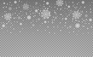 Snowflakes on transparent background. Falling snow. Vector illustration.