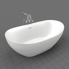 Empty modern bathtub