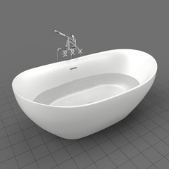 Modern bathtub filled with water