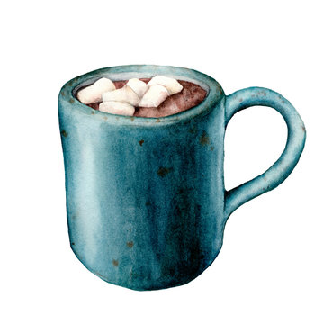 Watercolor cup of cacao with marshmallow. Hand painted mug with hot drink isolated on white background. Seasonal illustration for design, print or background.