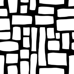 Hand drawn Rectangle shapes monochrome abstract seamless vector pattern. White blocks on black background. Hand drawn background for fabric, web banner, page fills, digital paper, wallpaper, packaging