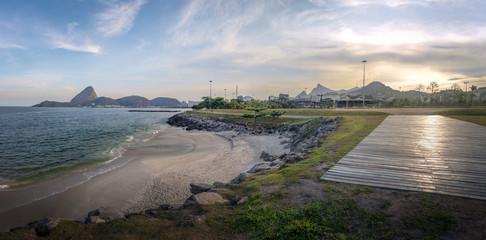 Panoramic view of Marina da Gloria Beach skyline with Corcovado and Sugar Loaf Mountain on background - Rio de Janeiro, Brazil