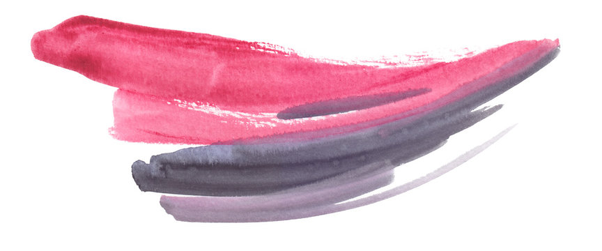 Bright pink and light grey expressive brush strokes painted in watercolor on clean white background