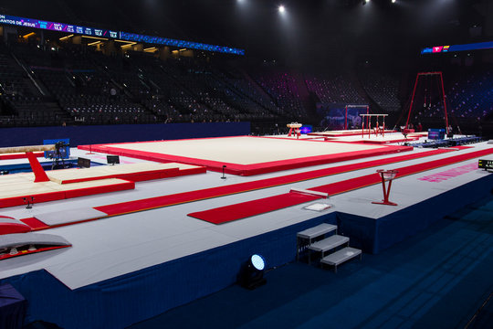 Gymnastic equipment in an arena