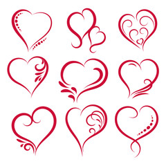 Hand drawn heart shapes. Design elements