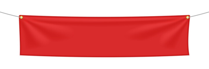 Red textile banner with folds Fototapete