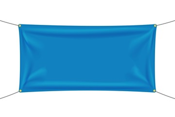Blue textile banner with folds Fototapete