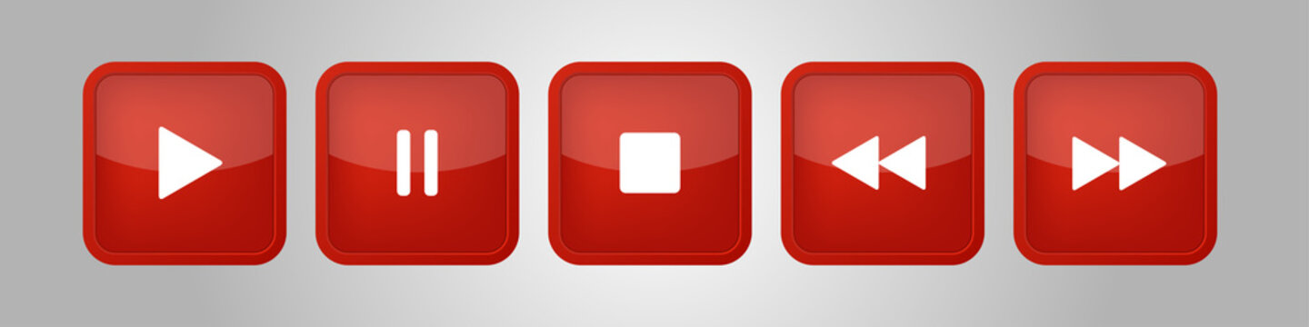 red, white square music control buttons set