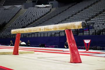 Printed kitchen splashbacks Gymnastics Gymnastic equipment in an arena