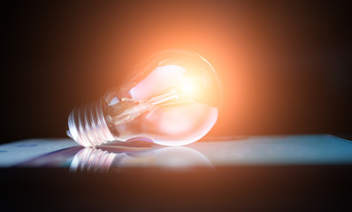 Incandescent lamp shining brightly, creative photo