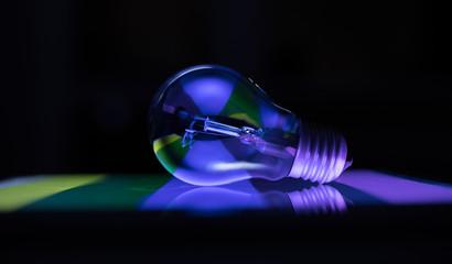 Creative incandescent lamp, techno style, blue color