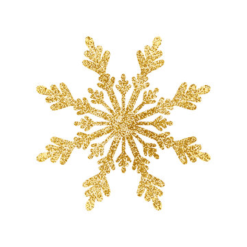 Gold glitter texture snowflake isolated on white background. Vector illustration.