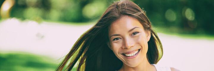 Leinwandbilder - Happy Asian woman beauty portrait smiling in summer nature background panorama banner.