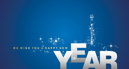 We wish you a Happy New Year silver blue background