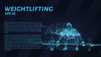 Weightlifting from blue glowing dots. Weightlifting vector illustration.