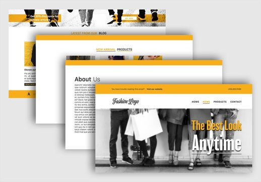 Web Newsletter Layout with Orange Accents