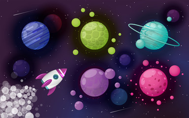 Outer space with planets, rocket and stars. Cartoon theme of rocket trip. Vector background. Cosmos design.