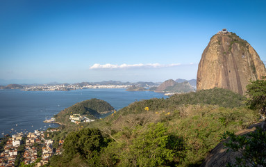 Sugar Loaf Mountain and aerial view of Guanabara Bay from Urca Hill - Rio de Janeiro, Brazil