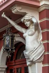 Classic white female statue of the goddess in Odessa, Ukraine