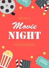 Abstract Movie Night Cinema Flat Background with Reel, Old Style Ticket, Big Pop Corn and Clapper Symbol Icons. Vector Illustration