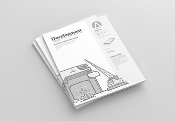 Square Brochure Layout with Web Development Illustrations