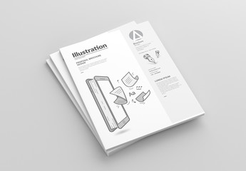 Square Brochure Layout with Design Illustrations