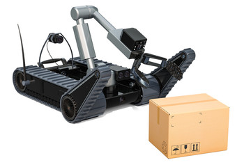 Bomb disposal robot with dangerous cardboard box, 3D rendering