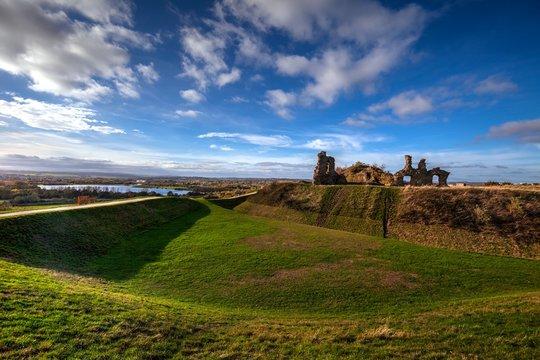 Ruin of Sandal Castle in Wakefield, Yorkshire, Great Britain.