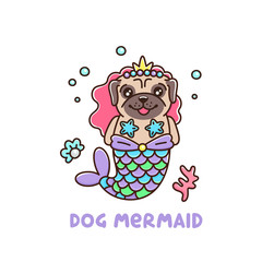 Сute dog breed pug in a mermaid costume. With tail of a mermaid, crown, pearl, shell, coral and starfish. It can be used for sticker, patch, phone case, poster, t-shirt, mug and other design.