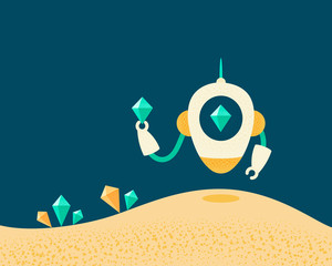 Robot with artificial intelligence in search of treasures of crystals. Vector illustration.