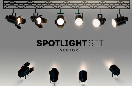 Spotlights realistic transparent background for show contest or interview vector illustration
