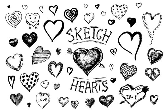 Set of hearts. Doodle Valentine. Love symbol. Engraved hand drawn sketch for stickers, patches and pins.