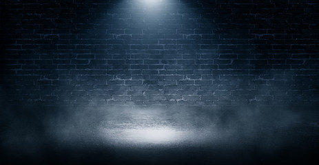 Photo sur Plexiglas Mur Background of empty brick wall, concrete floor, neon light, sear