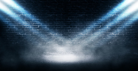Background of empty brick wall, concrete floor, neon light, searchlight rays, smoke, smog