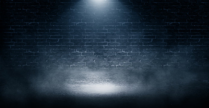 Background of empty brick wall, concrete floor, neon light, sear