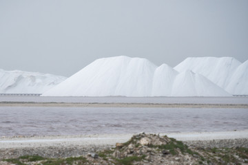 Salt mounds in Bonaire during storm