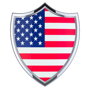 Shield with the United States flag, 3D rendering