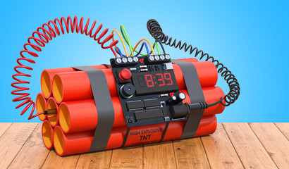 TNT bomb explosive with digital countdown timer clock on the wooden table. 3D rendering