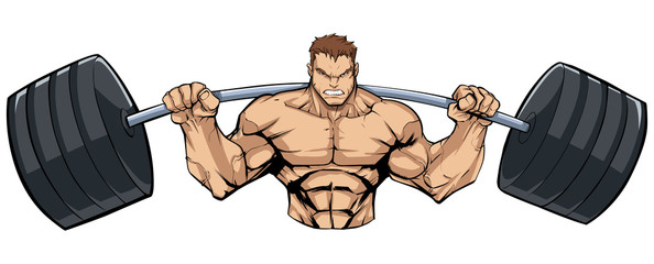 Illustration of strong bodybuilder doing squats with barbell on white background.