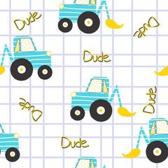 Excavator seamless pattern. Funny kids print. Vector hand drawn illustration.