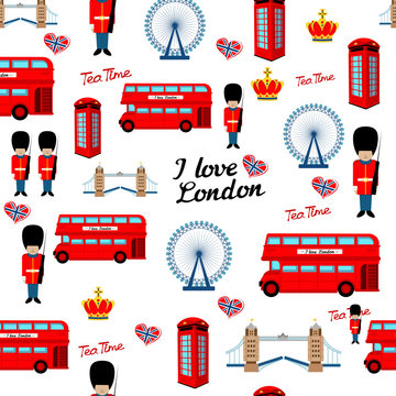 Abstract seamless london pattern for girls or boys. Creative vector background with soldier, tower, england. Funny pattern for textile and fabric. Fashion england style. Colorful bright picture