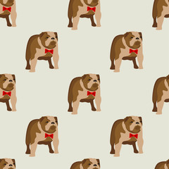 Abstract seamless bulldog pattern for girls or boys. Creative vector background with english bulldog, england. Funny pattern for textile and fabric. Fashion dog style. Colorful bright picture