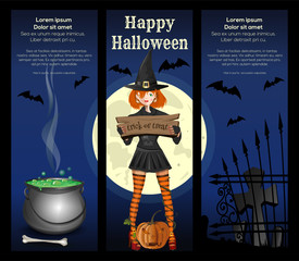 Halloween banner set. Halloween design with design with a cute girl in a witch suit against the full moon. Trick or treat. Vector illustration