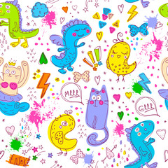 Animal cute pattern with lines, stars, dots. Cartoon style with animal repeated backdrop for child, textile, clothes, wrapping paper. Funny dino, birds,mermaid drawing in bright neon colors.