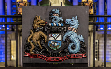 Fotomurales - Coat of arms at Belfast City hall in the night, UK