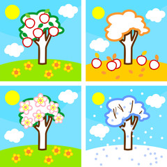 Coloring page. Four seasons apple tree. Life cycle of tree