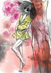 Comics beauty, Manga - An hand painted vector illustration