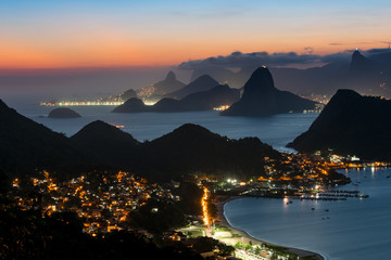 Night View of Niteroi and Rio de Janeiro with Mountains, from the City Park