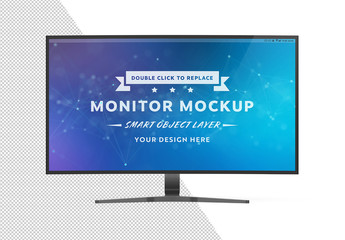 Curved Monitor Isolated on White Mockup