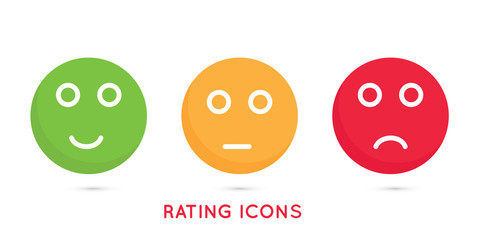 Emoji icons for rate of satisfaction. Colored icons. Isolated yes and no illustration on white background